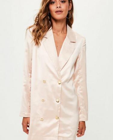Fashion Shop - Satin Button Front Blazer Dress