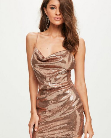 Fashion Shop - Sequin Strappy Cowl Bodycon Dress