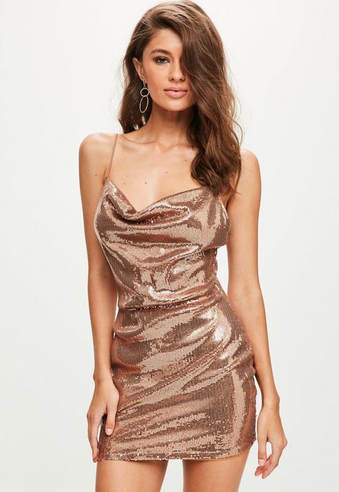 Fashion Shop - Sequin Strappy Cowl Bodycon Dress