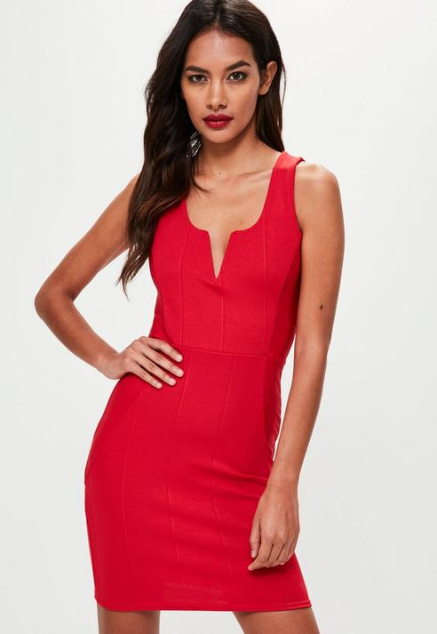 Fashion Shop - V Bar Bodycon Dress