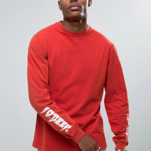Fashion Shop - 10 Deep Long Sleeve T-Shirt With Sleeve Print - Red