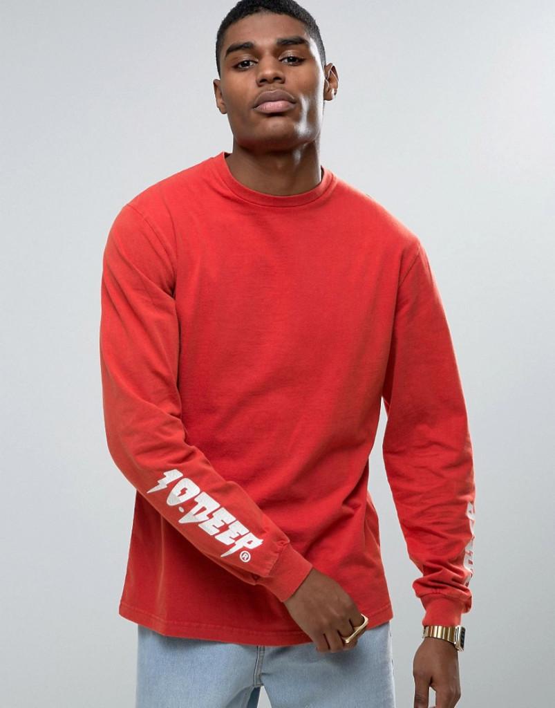 Fashion Shop - 10 Deep Long Sleeve T-Shirt With Sleeve Print - Red