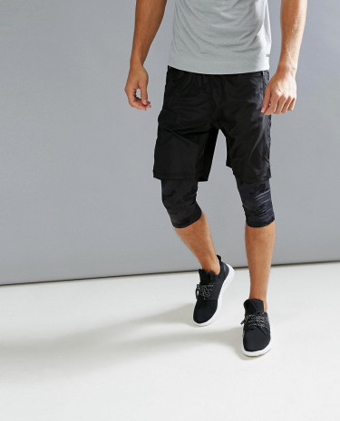 Fashion Shop - Bershka SPORT Bermuda Shorts With Leggings In Black - Black