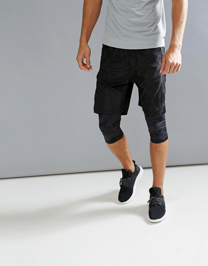 Fashion Shop - Bershka SPORT Bermuda Shorts With Leggings In Black - Black