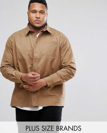 Fashion Shop - Duke PLUS Overshirt In Sand - Stone