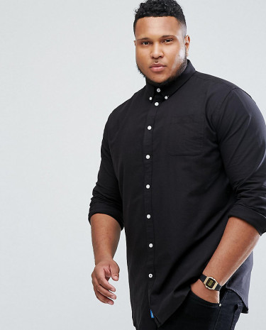 Fashion Shop - Duke PLUS Oxford Shirt In Black - Black