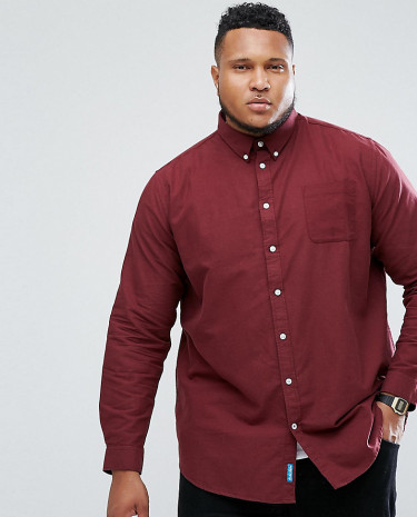 Fashion Shop - Duke PLUS Oxford Shirt In Burgundy - Red
