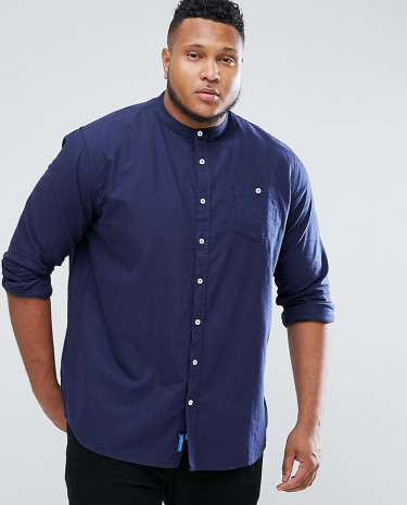 Fashion Shop - Duke PLUS Oxford Shirt With Grandad Collar In Navy - Navy