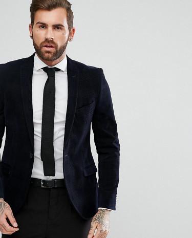 Fashion Shop - Heart & Dagger Slim Blazer In Check Velvet - Navy
