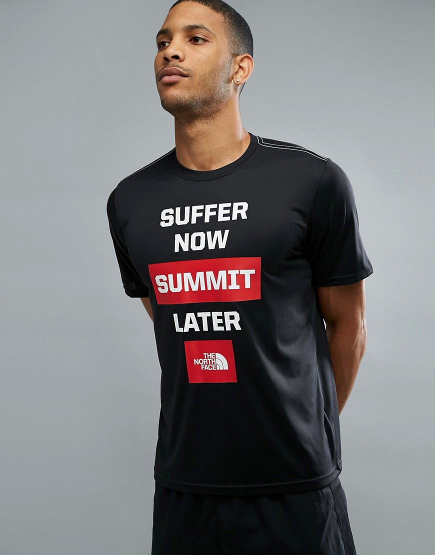 Fashion Shop - The North Face Mountain Athletics Reaxion Amp Running T-Shirt Front Print in Black/White - Black