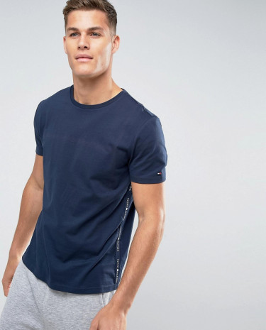 Fashion Shop - Tommy Hilfiger T-Shirt Side Logo Tape in Navy - Navy