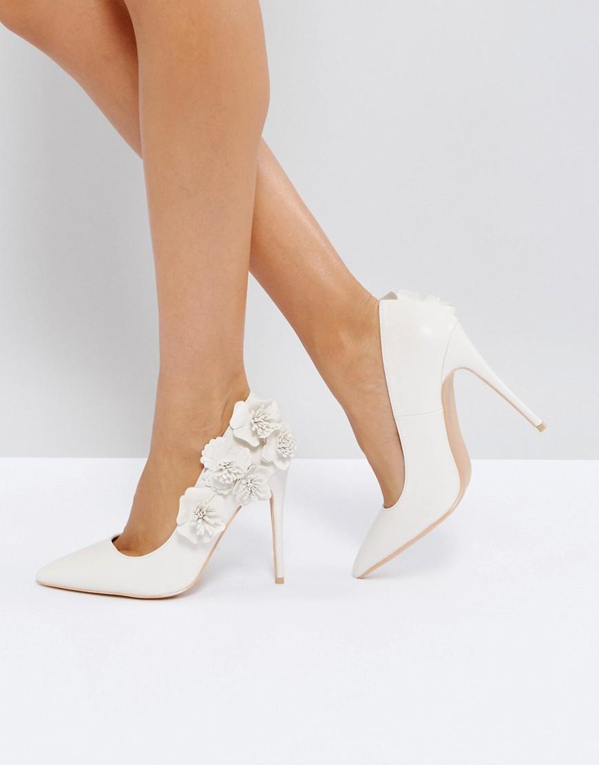 d00b1d951ad True Decadence Off White 3D Flower Court Shoes - Cream