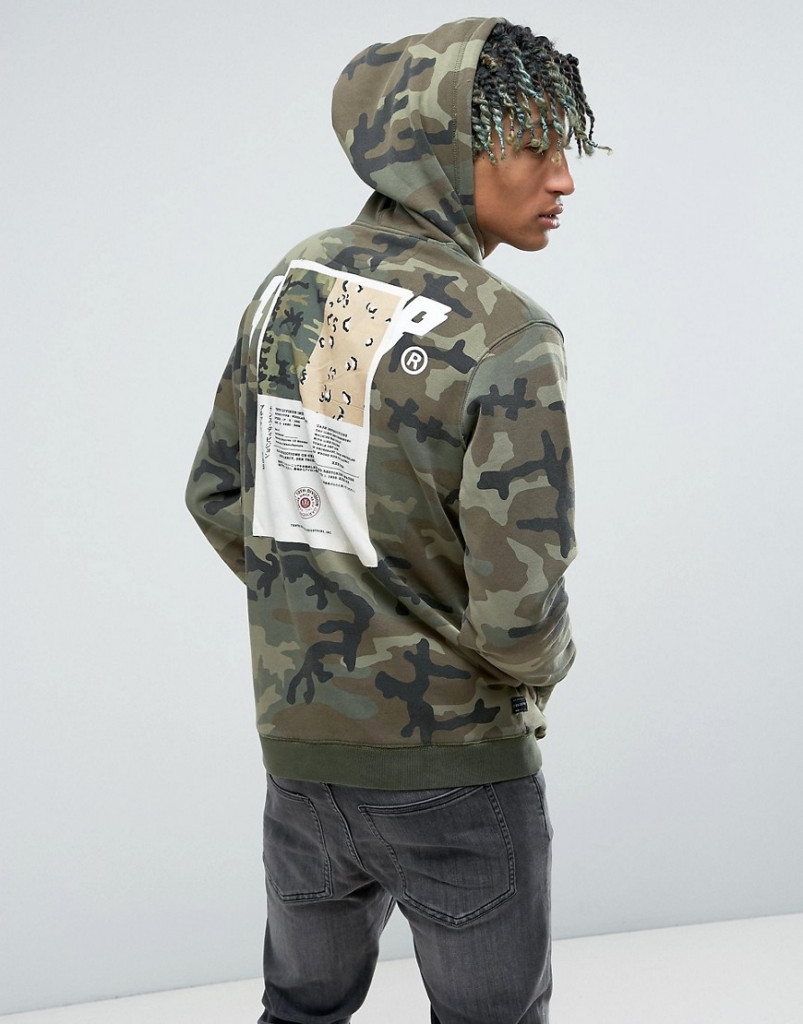Fashion Shop - 10.Deep Camo Hoodie With Back Patch - Green