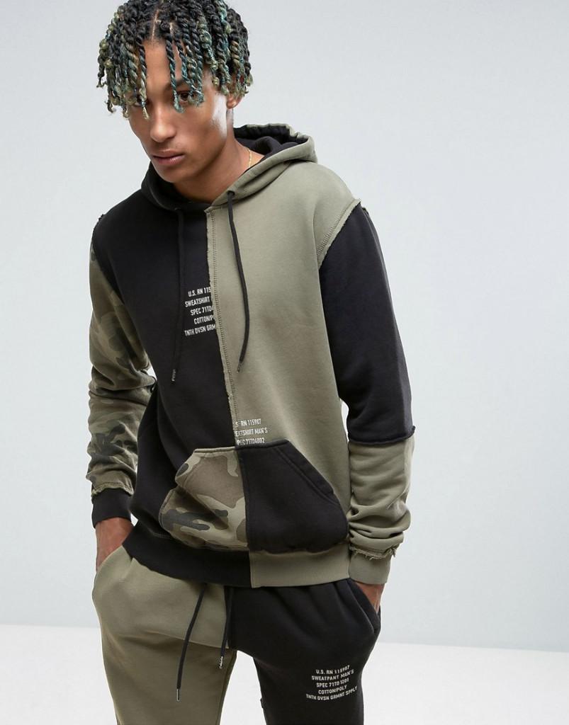 Fashion Shop - 10.Deep Hoodie With Camo Splicing - Black