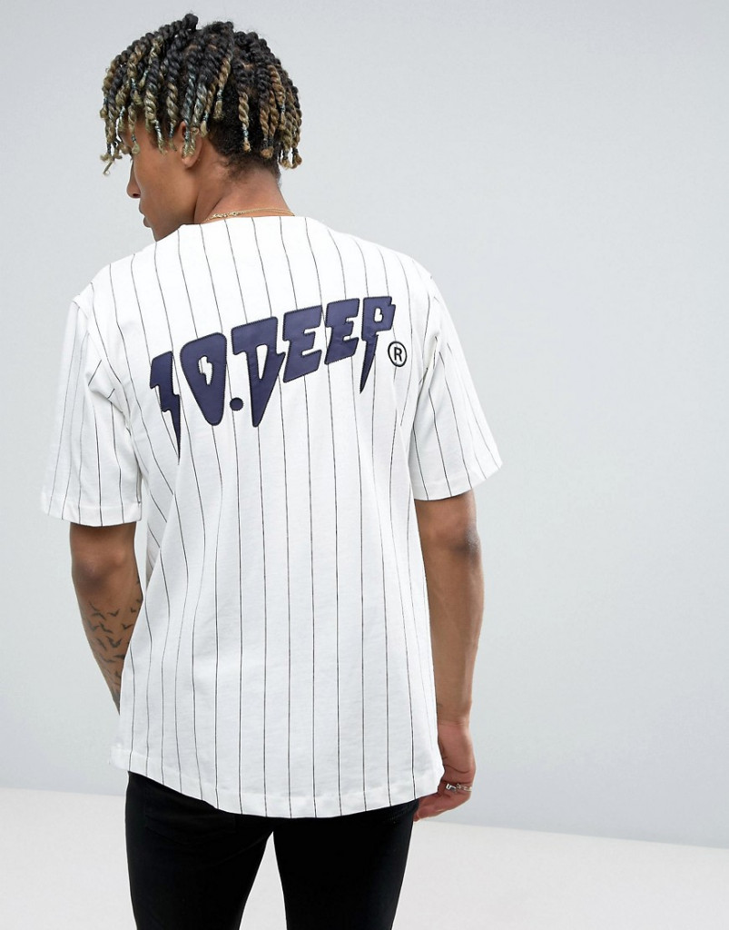 Fashion Shop - 10.Deep Striped Baseball T-Shirt - White