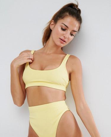 Fashion Shop - ASOS Crop Bikini Top in Rib - Yellow