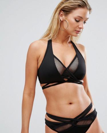 Fashion Shop - ASOS FULLER BUST Scuba Fishnet Wrap Halter Bikini Top DD-G - Black