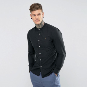 Fashion Shop - Farah Brewer Slim Fit Grandad Oxford Shirt in Black - Black