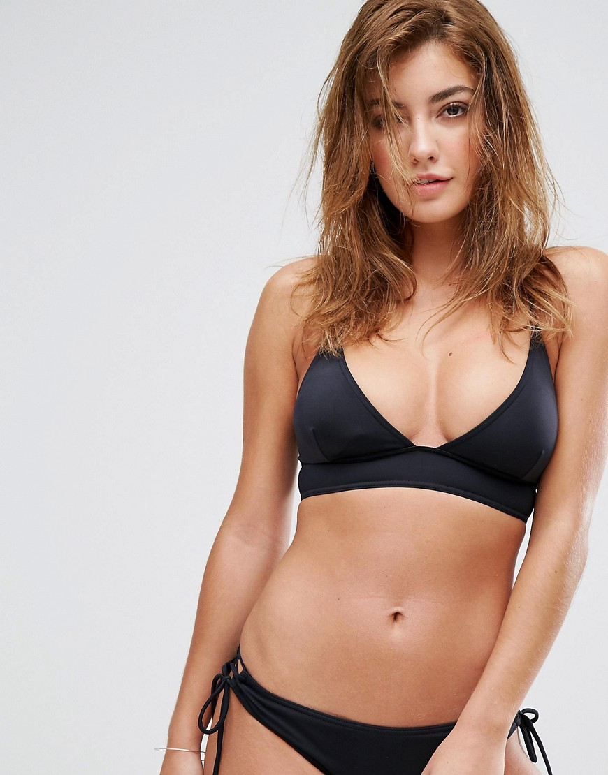 Fashion Shop - Lost Ink Lace Up Back Bikini Top - Black