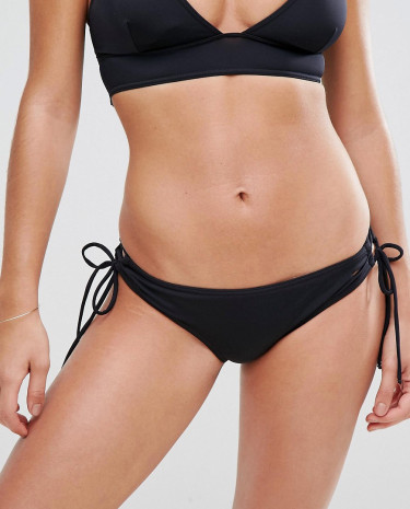 Fashion Shop - Lost Ink Lace Up Side Bikini Bottom - Black
