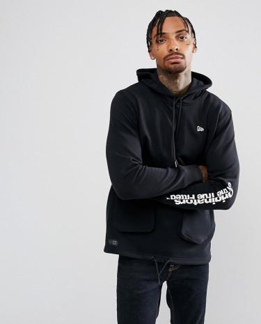 Fashion Shop - New Era Originators Oversized Hoodie With Sleeve Print in Black - Black