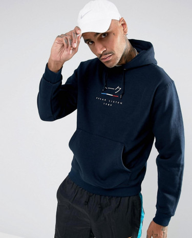 Fashion Shop - Parlez Hoodie With Chest Logo - Navy