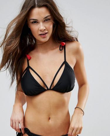 Fashion Shop - Vero Moda Tassel Triangle Bikini Top - Black