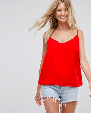 Fashion Shop - ASOS Fuller Bust Swing Cami with Double Layer - Red