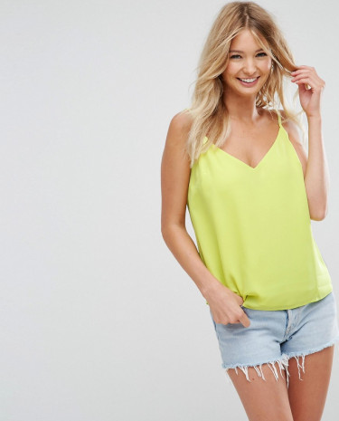 Fashion Shop - ASOS Fuller Bust Swing Cami with Double Layer - Yellow