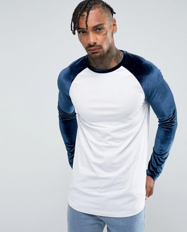 Fashion Shop - ASOS Longline Muscle Long Sleeve T-Shirt With Velour Sleeves And Curve Hem - White