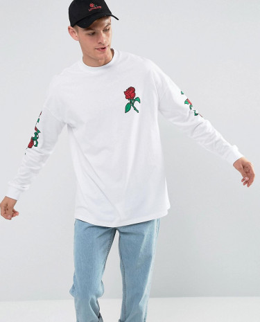 Fashion Shop - ASOS Oversized Long Sleeve T-Shirt With Rose Sleeve And Chest Print - White