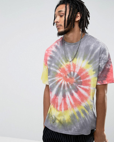Fashion Shop - ASOS Oversized T-Shirt In Bright Spiral Tie Dye - Grey