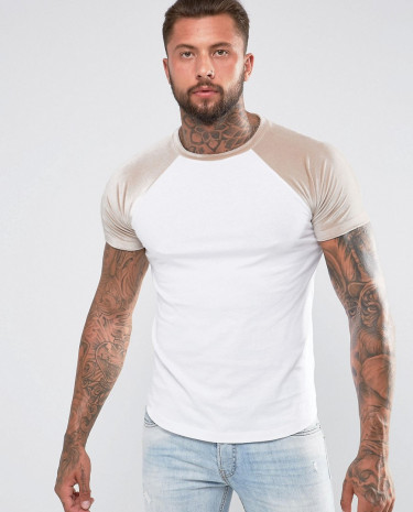 Fashion Shop - ASOS T-Shirt With Mini Curved Hem And Contrast Velour Raglan Sleeves In Taupe - White