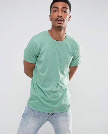 Fashion Shop - Abercrombie & Fitch Pocket T-Shirt Slim Fit Garment Dye in Green - Green