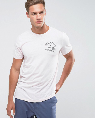 Fashion Shop - Abercrombie & Fitch Slim Fit T-Shirt With Logo in Pink - Pink