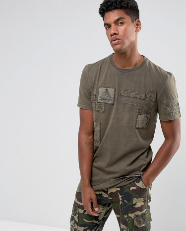 Fashion Shop - Brooklyns Own T-Shirt In Brown With Patches - Brown