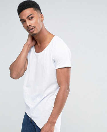 Fashion Shop - Jack & Jones Originals T-Shirt With Scoop Neck And Side Curved Hem - White