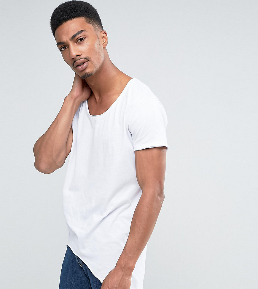 Fashion Shop - Jack & Jones Originals T-Shirt With Scoop Neck And Side Curved Hem - White