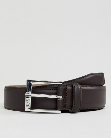 Fashion Shop - BOSS Smooth Leather Belt in Brown - Brown
