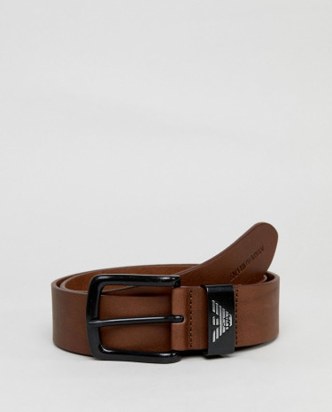 Fashion Shop - Emporio Armani Leather Logo Textured Jeans Belt In Brown - Brown