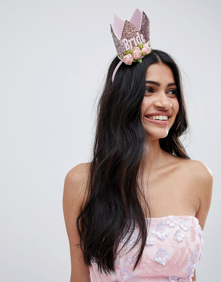 Fashion Shop - ASOS DESIGN Hen Crown Headband - Pink
