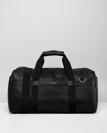 Fashion Shop - ASOS DESIGN Holdall In Faux Leather In Black With Silver Emboss - Black