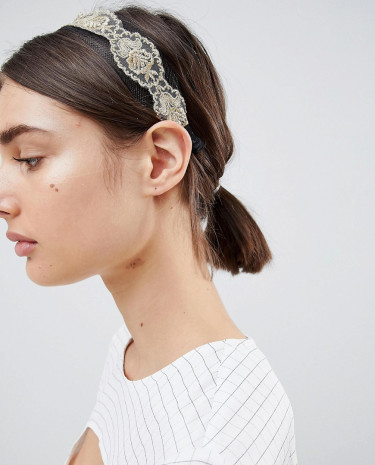 Fashion Shop - ASOS DESIGN Lace Overlay Headband - Multi