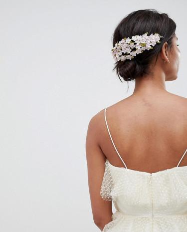 Fashion Shop - ASOS DESIGN Mini Flower Back Hair Clip - Purple
