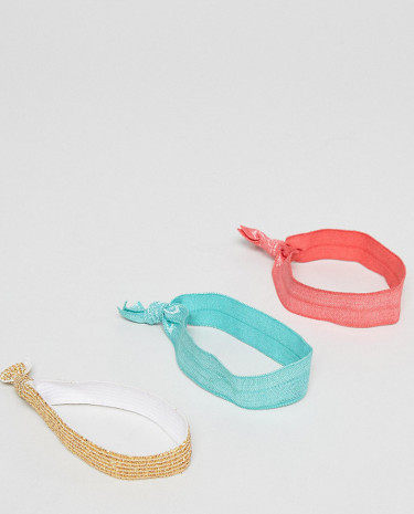 Fashion Shop - ASOS DESIGN Pack Of 3 Hair Ties - Multi