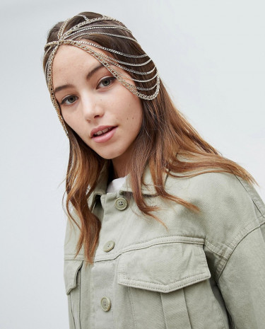Fashion Shop - ASOS DESIGN Statement Festival Draping Chain Headdress - Gold