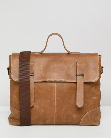 Fashion Shop - ASOS DESIGN satchel in leather in tan and double straps - Tan
