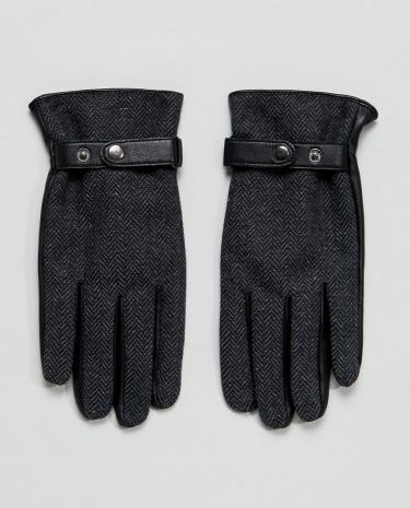 Fashion Shop - ASOS Leather Gloves In Grey Herringbone - Grey