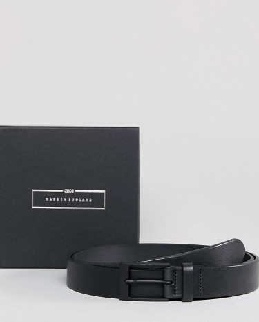 Fashion Shop - ASOS PLUS Made In England Smart Slim Belt In Black Leather - Black