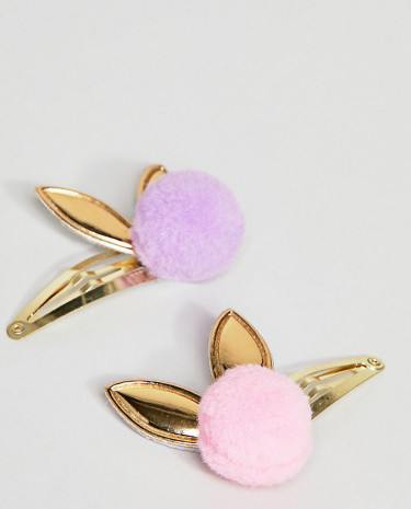Fashion Shop - ASOS Pack of 2 Pom Bunny Hair Clips - Multi